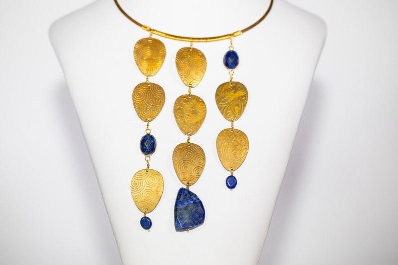 Lapis Lazuli Pendant. Gilt Brass Choker necklace