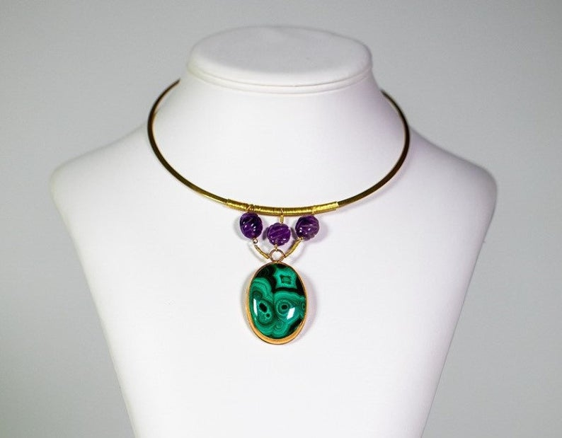 Large Malachite Cabochon with Amethyst Beads